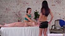 PA watches how a hot brunette masseuse massages...