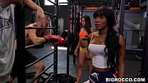 Interracial sex orgy in the gym