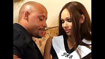Slim brunette is penetrated by a black cock on ...