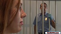 Redhead detainee seduces guard by showing her h...