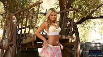 Amazing teen blonde Tahlia Paris outdoor stripping
