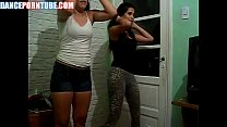 teenage latinas dancing in skin tight spandex