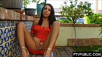 Public masturbation with hot 20 year old brunette