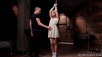 Tied up with hands above head small tits blonde...