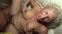 busty hairy 75 years old granny mom enjoys her first rough porn video with a young toyboy Thumbnail