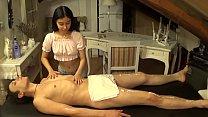 A skinny little girl massage me till I cum in h...