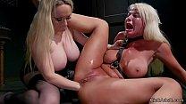 Huge tits blonde mistress whips big tits blonde...