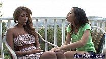 Lesbian teen ebony stepsisters finger pussy and...