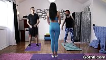Sexy Ariana Marie in a yoga threesome session