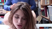Young skinny shoplifter banged by a security gu...