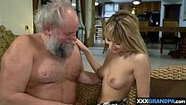Dirty old man feeding a gipsy sluts hungry pussy