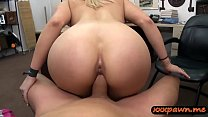 Huge tits blonde woman gives head and gets her ...