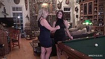 Hot MILFs stripping while playing pool ending u...