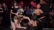 Sexy petite brunette ebony gets pussy clamped b...