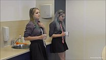 Blonde innocent office girl bound and gagged by her collegue