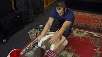 Blonde christmas BDSM slave bound and gagged EP 3