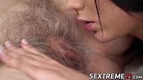 Lesbian granny rims a young pussy hard