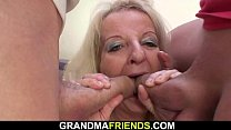 Old blonde granny double penetration