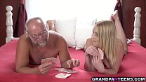 Teen plays stripping game with horny grandpa
