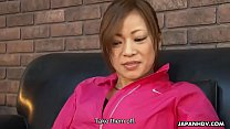 Gorgeous Asian has her trimmed pussy expertly t...