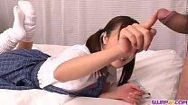 Japanese student sucks cock