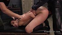 Bondage petite brunette babe gets ass fucked an...