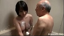 Japanese amazing girl with old man in bathroom