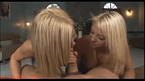 Watch two blond whores share  cock and cum swap pov bj preview