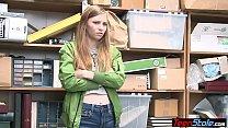 Brunette teen shoplifter fucked by a corrupt ma...