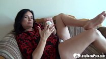 Hot MILF with a nice ass and big tits fingers h...
