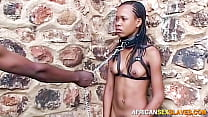Hot African babe bound and whipped in public