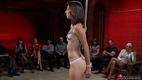 Small tits brunette slave Kristine Kahill is bo...