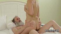 Older schoolteacher pleasures and drills stripp...