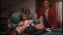 Milly D'abbraccio and Roberto Malone on pool table