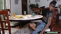 Stepdaughter sucks stepdad under the table and ...