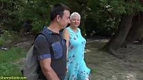 chubby big boob granny gets wild public beach f...