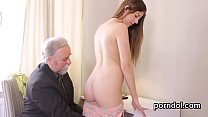 Sultry college girl was teased and banged by he...