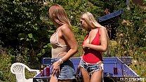 Top-heavy couple Paulina Soul & Florane Russell...