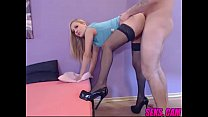 Young blonde amateur babe wearing sexy black st...