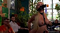 Hot ass busty blonde disgraced in lingerie in public street Thumbnail