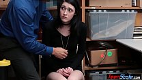 Pale small titted young thief humiliated by a s...