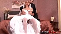 Gorgeous bride gets fucked with strapon