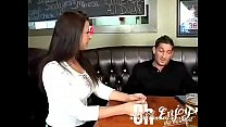 Milf in restaurant with young friend