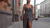 Naughty Lada is walking in public with an open ...