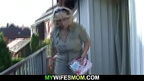 Hot outdoor sex with old m. in law