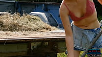 Big butt farmer blonde gets naked outdoor and l...