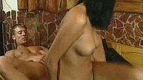 Amateur girlfriend fucking on a table with facial