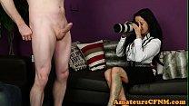 CFNM fetish photographer strokes guys cock