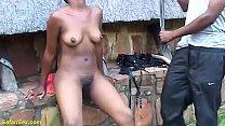 big ass hairy bush african milf slave gets hard...
