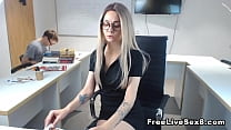 Sizzling hot blonde office babe